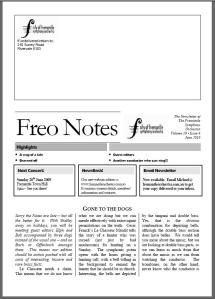 FreoNotes newsletter